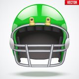 Realistic Green American football helmet. Front Stock Photos