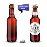 Realistic green and brown beer bottles set  Stock Photography