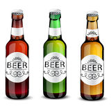 Realistic green and brown beer bottles set  Stock Photo