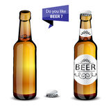Realistic green and brown beer bottles set  Stock Images