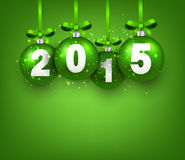 Realistic green christmas balls with 2015. Vector illustration Stock Images