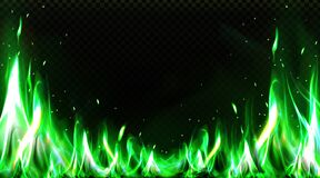 Free Realistic Green Fire Border, Burning Flame Clipart Royalty Free Stock Photo - 213169575