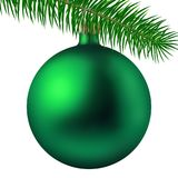 Realistic green matte Christmas ball or bauble with fir branch isolated on white background. Vector illustration. Vector realistic illustration green matte Royalty Free Stock Photo