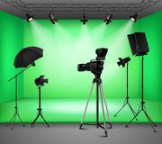 Realistic Green Screen Studio Interior. With floodlight kit umbrella camera and softbox  illustration Royalty Free Stock Images