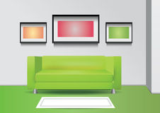 Realistic green sofa with floor lamp, carpet and three photoframes on the wall. Interior vector illustration Stock Image