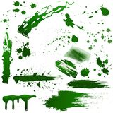 Realistic green toxic blood splatters vector set. Splash poison liquid. Royalty Free Stock Photos
