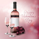 Realistic Greeting Festive Poster. With grapes bunch bottle and glasses full of rose wine vector illustration Royalty Free Stock Photography