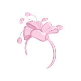 Realistic hair band with a lush flower or bow. Women s fashion accessories. Ideal for wedding or celebration. The pink Royalty Free Stock Photo
