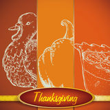 Realistic Hand Draw Set of Traditional Thanksgiving Elements, Vector Illustration stock illustration