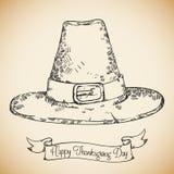 Realistic Hand Drawn Pilgrim Hat, Vector Illustration Royalty Free Stock Photo