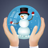Realistic Hand Holding Cristmas Winter New Year. Snowball Snowman Icon Vector Illustration Stock Photo