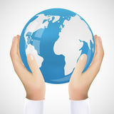 Realistic Hand Holding Earth Vector Illustration Royalty Free Stock Photography