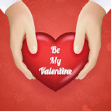 Realistic Hand Holding Heart Valentines Day Present Icon Vector Illustration Stock Image