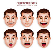 Realistic Handsome Man Head with Different Facial Expression Stock Images