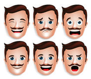Realistic Handsome Man Head with Different Facial Expressions. Set of 3D Realistic Handsome Man Head with Different Facial Expressions With Mustache for Avatar Stock Photo