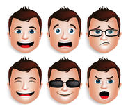 Free Realistic Handsome Man Head With Different Facial Expressions Stock Images - 57837544