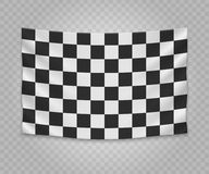 Realistic hanging flag. Realistic hanging checkered finish flag. Empty fabric banner illustration design Stock Photos