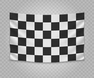Realistic hanging flag. Realistic hanging checkered finish flag. Empty fabric banner illustration design Stock Images
