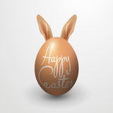 Realistic Happy Easter with Egg & Rabbit Royalty Free Stock Photography
