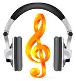 Realistic headphones with music note Stock Photos