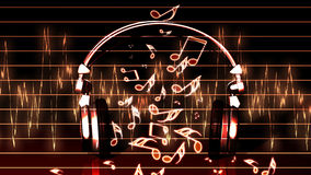 Realistic headphones with music notes Royalty Free Stock Images