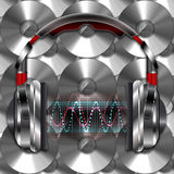 Realistic headphones with music waves. Illustration on a background of compact discs Stock Photography