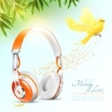 Realistic Headphones Poster Royalty Free Stock Photos
