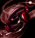 Realistic headphones with stars dust Stock Photography