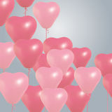 Realistic heart birthday balloons flying. party and celebrations. Space for message.  on light background. I Royalty Free Stock Photo