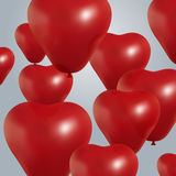 Realistic heart birthday balloons flying. party and celebrations. Space for message.  on light background. I Royalty Free Stock Images