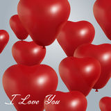 Realistic heart birthday balloons flying. party and celebrations. Space for message.  on light background. I Stock Photos