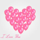 Realistic heart birthday balloons flying. party and celebrations. Space for message.  on light background. I Royalty Free Stock Photos