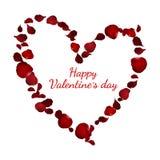 Realistic heart shape red rose petal for valentine`s day card. Flower vector illustration on white background stock illustration