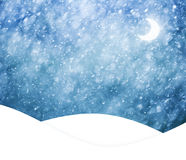 Realistic heavy snowfall landscape with moon illustration Stock Image