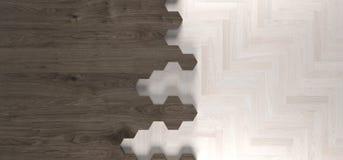 Realistic Hexagonal Wood Texture And Parquet Floor Pieces. 3D Rendering Of Realistic Hexagonal Wood Texture And Parquet Floor Pieces Royalty Free Stock Image