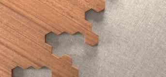 Realistic Hexagonal Wood Texture Parquet Floor Pieces. 3D Rendering Of Realistic Hexagonal Wood Texture Parquet Floor Pieces Stock Image