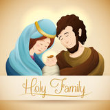Realistic Holy Family Portrait, Vector Illustration Royalty Free Stock Images