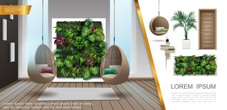 Realistic Home Interior Colorful Composition. With modern hanging wicker chairs decorative green wall wooden door plant in flowerpot shelf vector illustration royalty free illustration