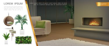 Realistic Home Interior Composition royalty free illustration