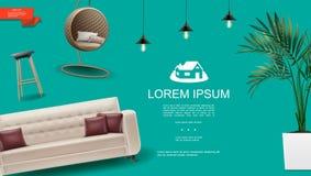 Realistic Home Interior Template stock illustration