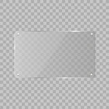 Realistic horizontal transparent glass frame with shadow on transparent background.   Vector illustration Stock Photography