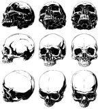 Realistic horror detalied graphic human skulls set. Vector set of 9 realistic horror detalied graphic black and white human skulls in different projections Royalty Free Stock Image
