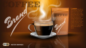 Realistic hot coffee cup and package Mockup template for branding, advertise product designs. Fresh steaming drink in a Royalty Free Stock Photography