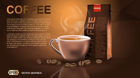 Realistic hot coffee cup and package Mockup template for branding, advertise product designs. Fresh steaming drink in a. Realistic hot coffee cup and package Stock Photo