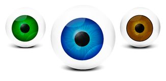 Realistic human eyes, on white background with different colors.  image -eps 10. Unusual color the human eye is made in EPS 10 Royalty Free Stock Photos