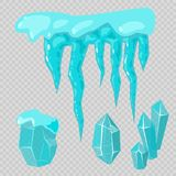 Realistic ice caps snowdrifts and icicles broken piece bit lump cold frozen block crystal winter decor vector Stock Image