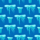 Realistic ice caps snowdrifts seamless pattern background icicles broken piece bit lump cold frozen block crystal winter Royalty Free Stock Photography