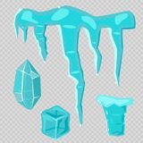 Realistic ice caps snowdrifts and icicles broken piece bit lump cold frozen block crystal winter decor vector Stock Photo