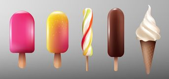 Realistic Ice Cream Collection. With eskimo glaze caramel sweet products on stick and sundae  vector illustration Royalty Free Stock Image