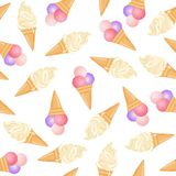 Realistic ice cream vector illustration background. Ice cream cone seamless pattern in white background. Realistic ice cream illustration background Royalty Free Stock Photography